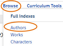 screenshot of Browse Header, Full Indexes and Authors navigation buttons