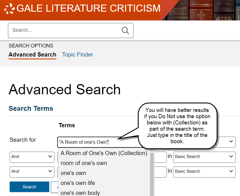 """Gale Literature Criticism search box with """"A Room of One's Own"""" with a note stating to type the title only and not use the suggestion from the database to """"collection"""" to the search term."""