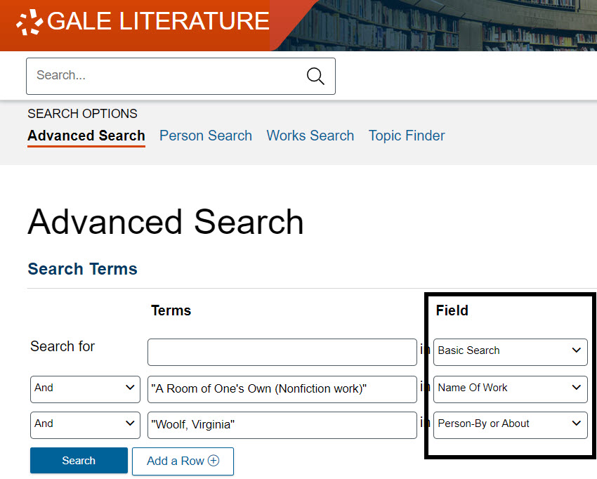"""Gale Literature Advanced Search page with """"A room of one's own"""" in the Name of Work search box line and Woolf, Virginia in the Person by or About search box line"""