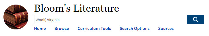 Bloom's Literature search box with Woolf, Virginia as the search term.