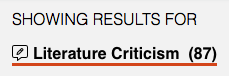 Showing results for Literature Criticism