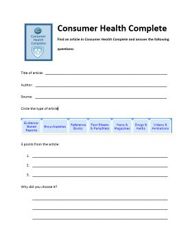 consumer health worksheet