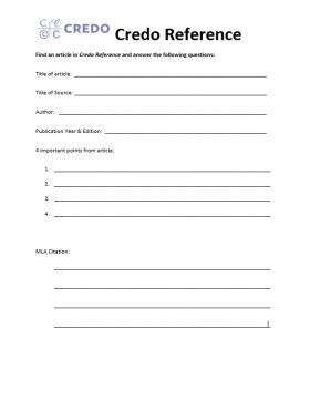 credo worksheet