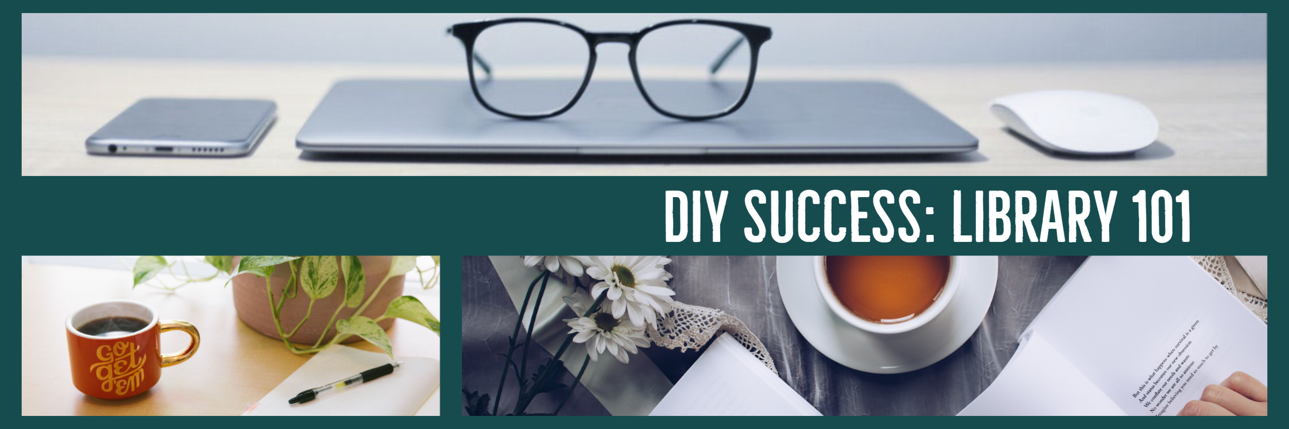 banner that reads diy success: library 101