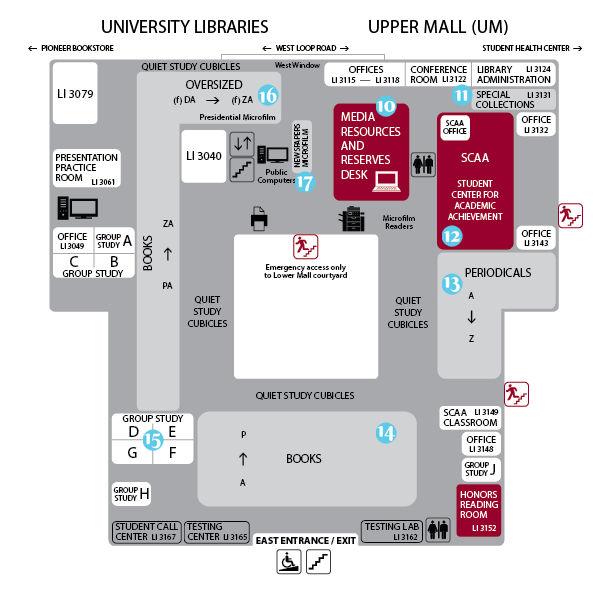 map of Upper Mall with numbers for touring