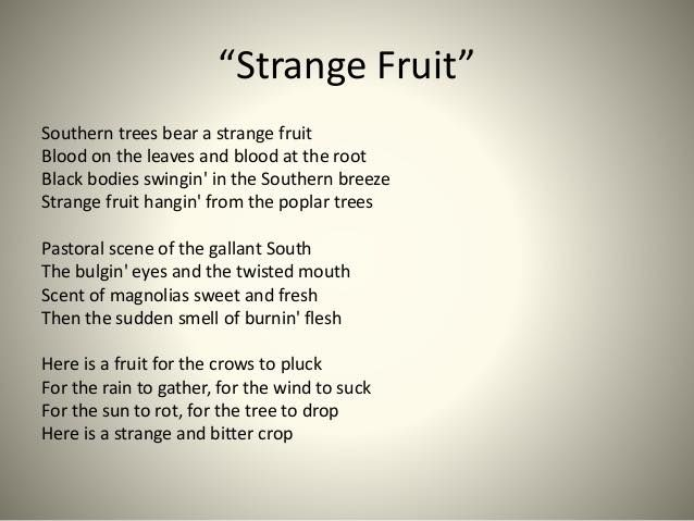 Lyrics to Strange Fruit