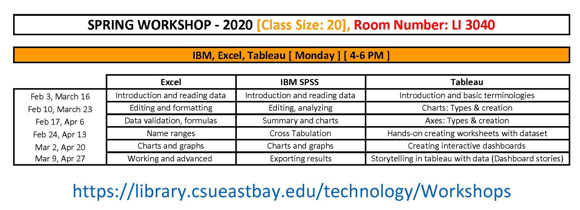 Analytics Workshop Schedule
