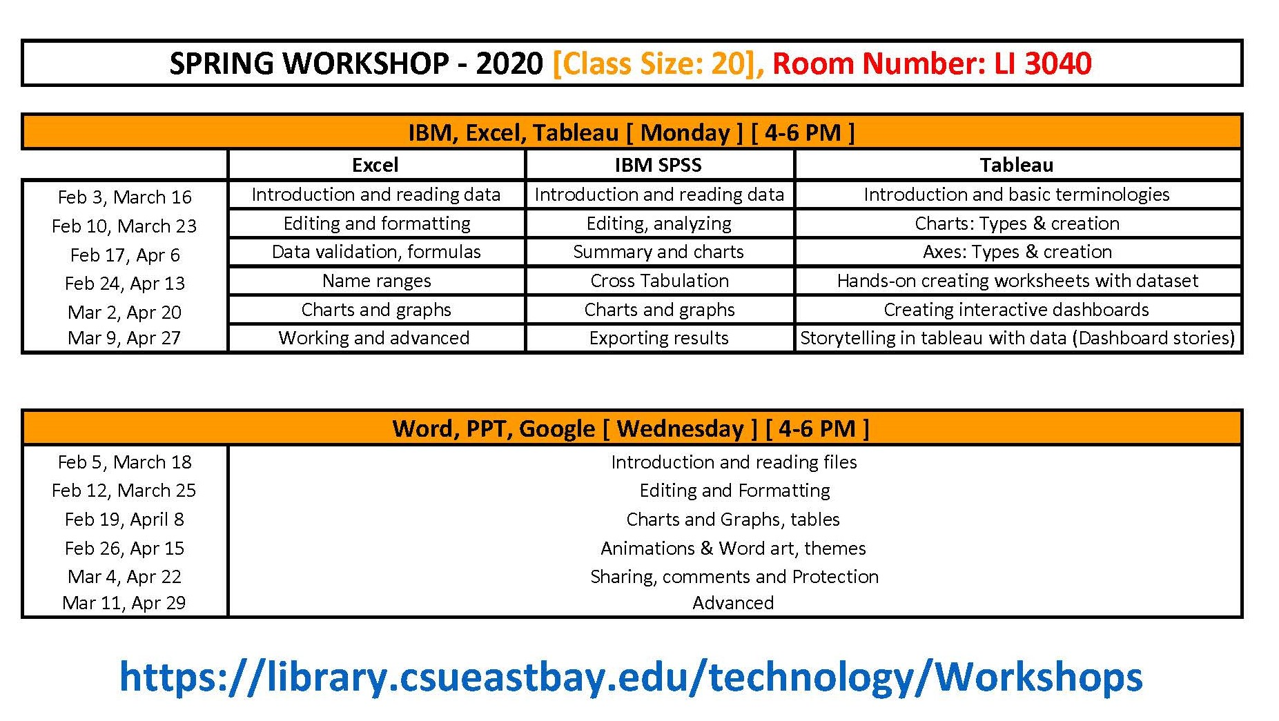 Full Workshop Schedule