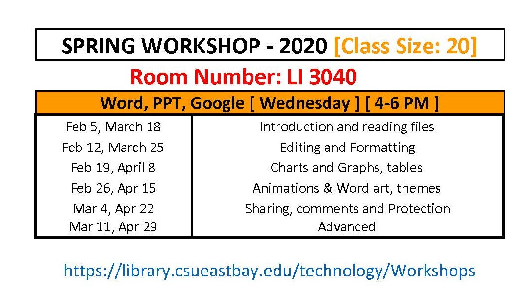 Google Workshop Schedule