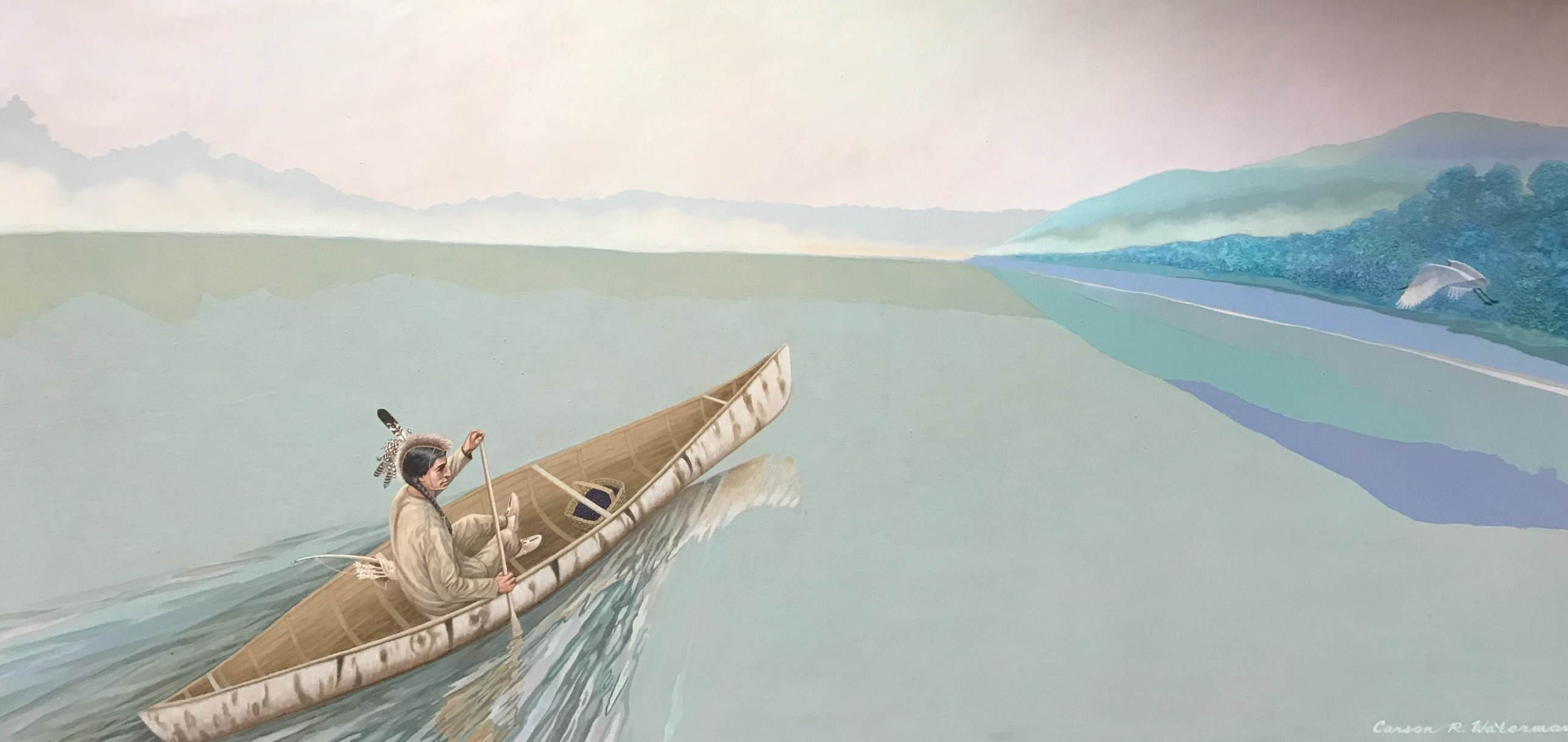 photo of carson waterman's painting of man in canoe on the Allegheny River