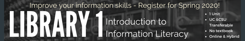 Improve your information skills - sign up for library 1 class in spring!