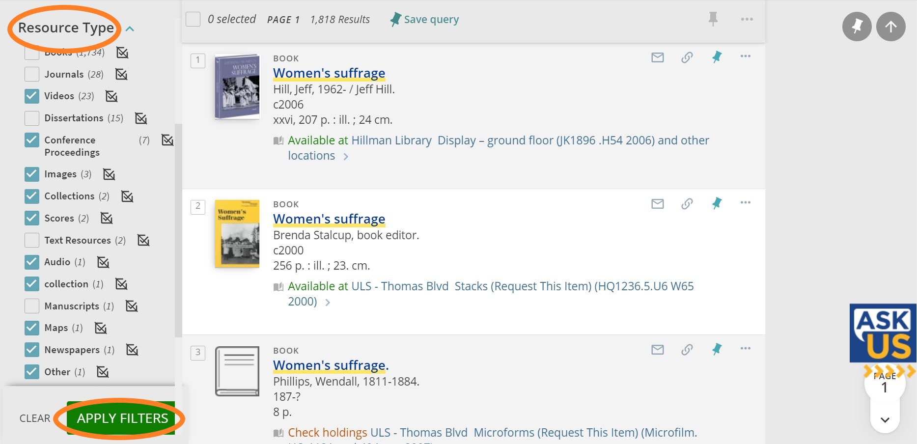 """Screenshot of PittCat Filter """"Resource Type"""" applied to """"Women's Suffrage"""" search."""