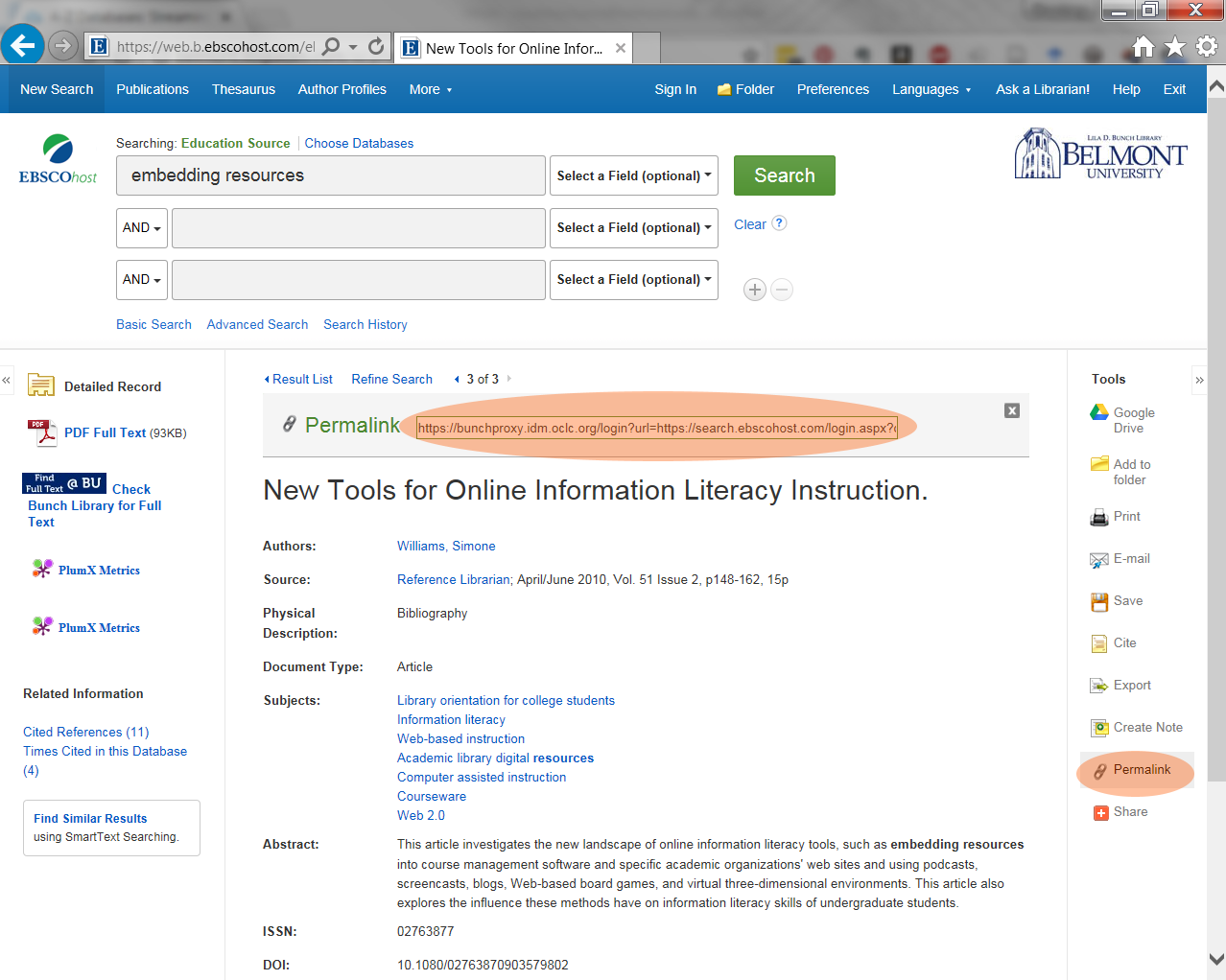 Screenshot of the EBSCOHost Article View screen