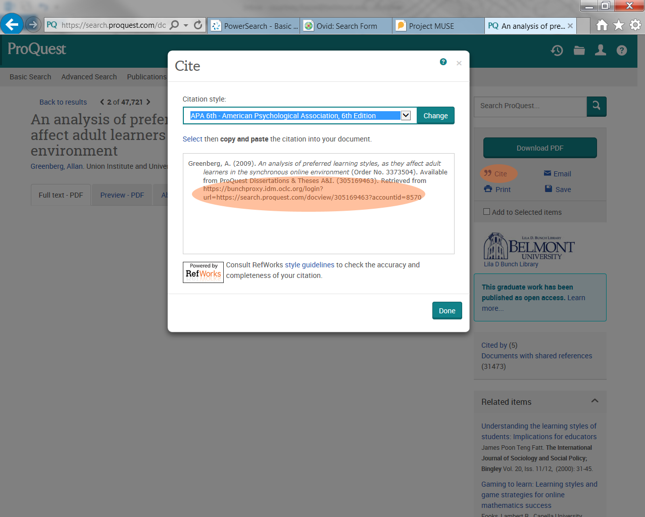 ProQuest article screen