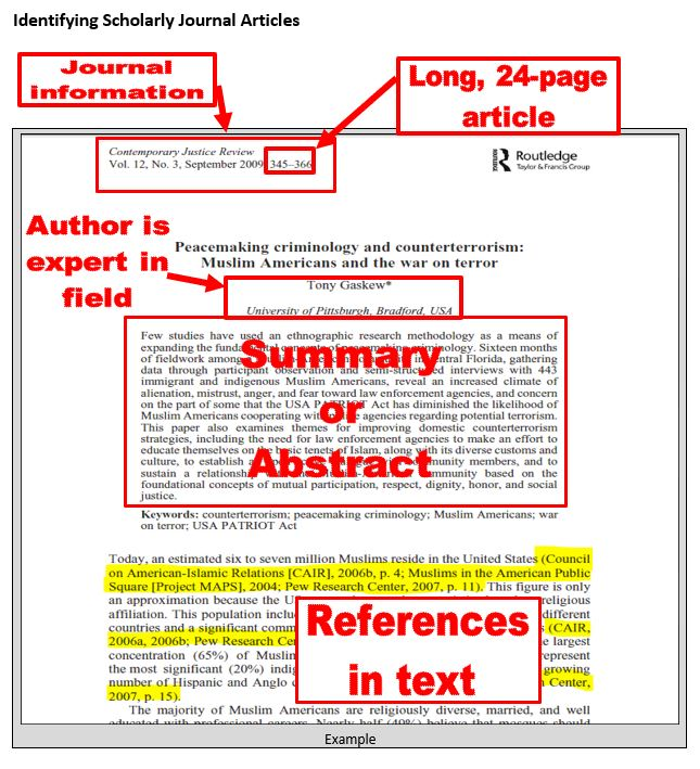 Scholarly article picture showing scholarly characteristics