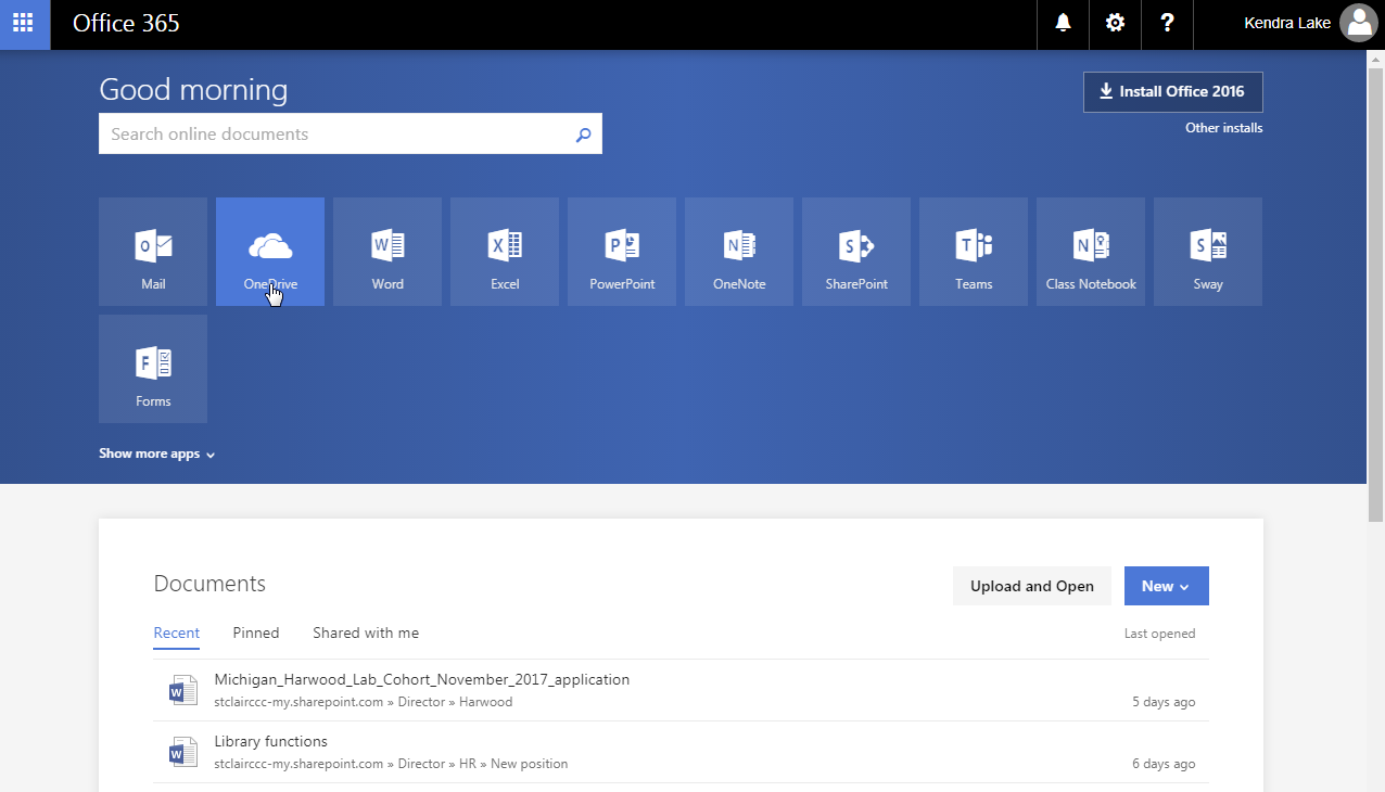 click on the OneDrive app from the Office 365 Home screen