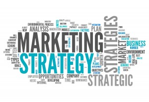 "Word ""marketing""  in a collage of descriptive words: strategies, analysis, business plans, etc."