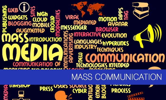 """Mass Communication"" on a black background surrounded by descriptive topics."