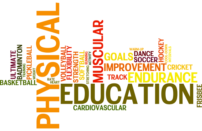 """Physical Education"" surrounded by a collage of topics: muscular, track, endurance, soccor, etc."