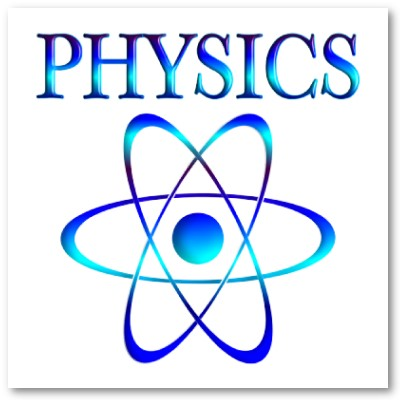 Physics atom fading from dark blue to light blue and back.
