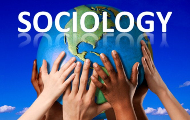 "Words ""sociology"" above a globe of the world held by hands."