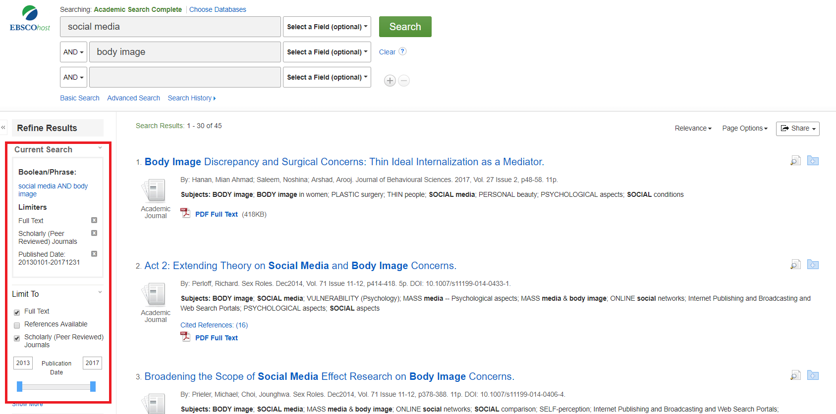 image of Academic Search screen