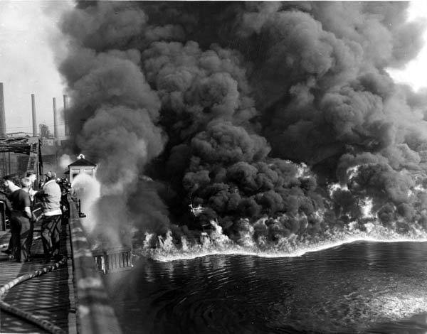 Cuyahoga River in Cleveland, Ohio, burning due to pollution in 1952.