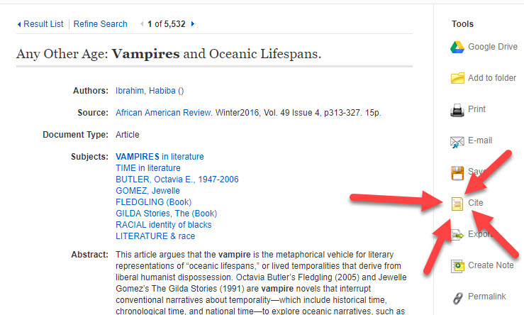 "Example of a ""Cite"" button in a library database."
