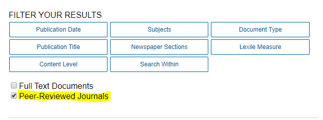 filter your results by peer reviewed journals