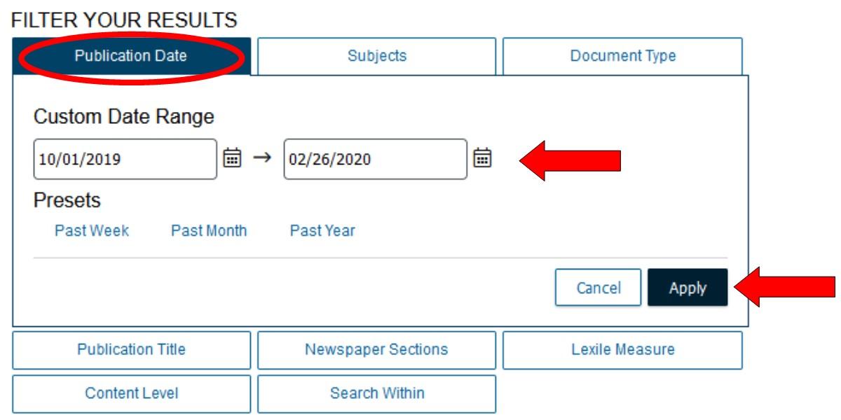 Publication Date Filter