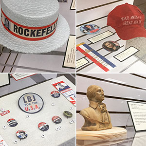 Collage of campaign collectibles exhibits