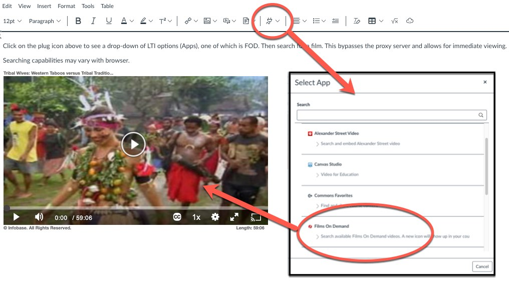 FOD screenshot of App menu