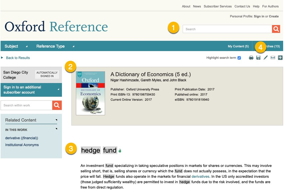 screenshot for Oxford Reference entry