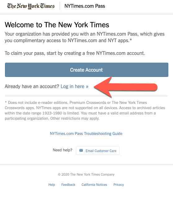 screenshot of instructions to claim NYT pass