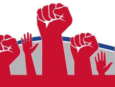 hands raised in solidarity