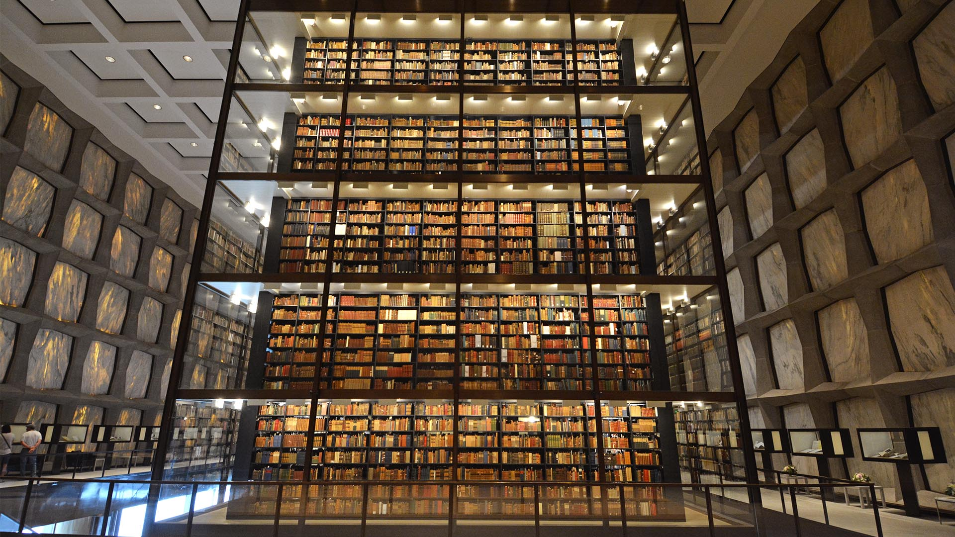A photograph of the inside of the Beinecke Library.