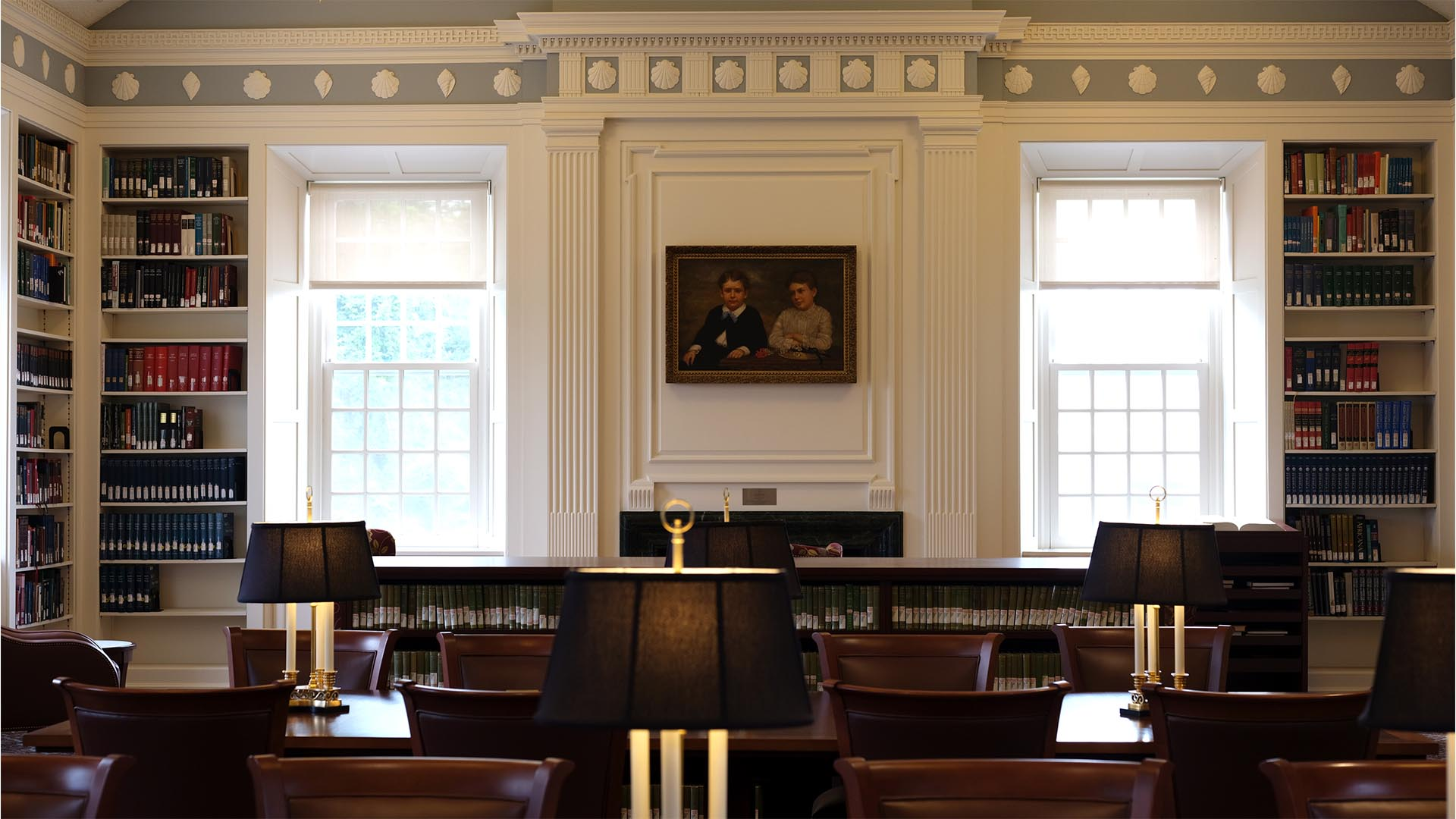 A photo of the Trowbridge Reading Room at the Divinity Library.