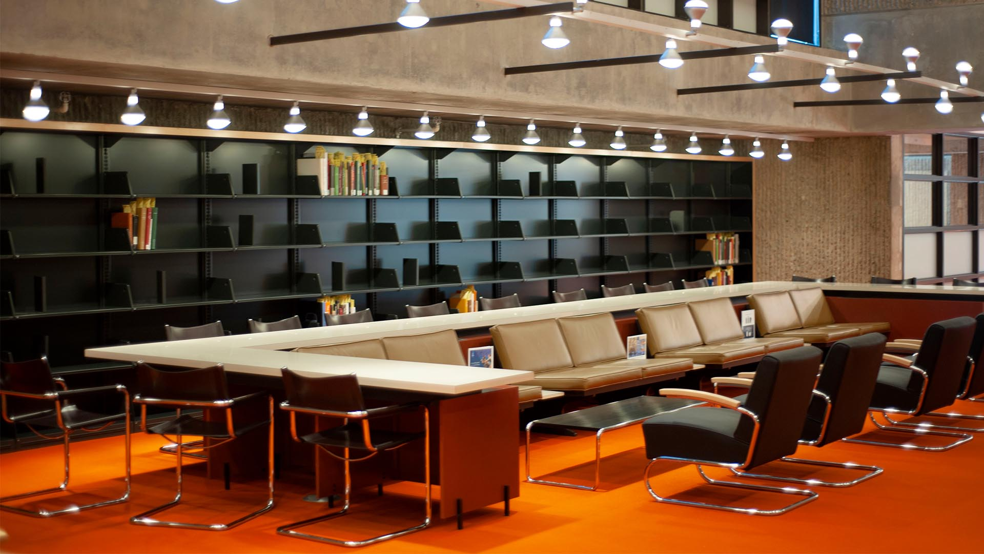 A photo of the reading room at Haas Arts Library.