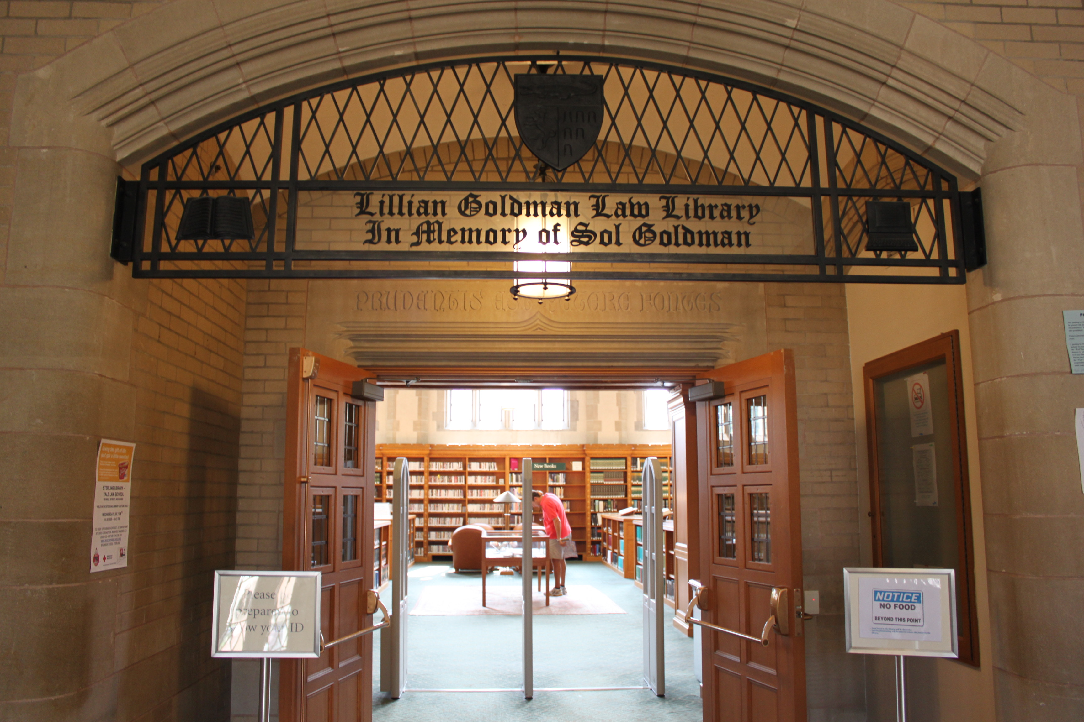 A photo of the entrance of the Lillian Goldman Law Library.