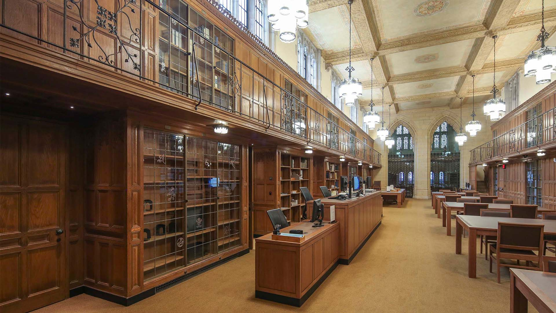 A photo of the reading room at Manuscripts & Archives in Sterling Memorial Library.