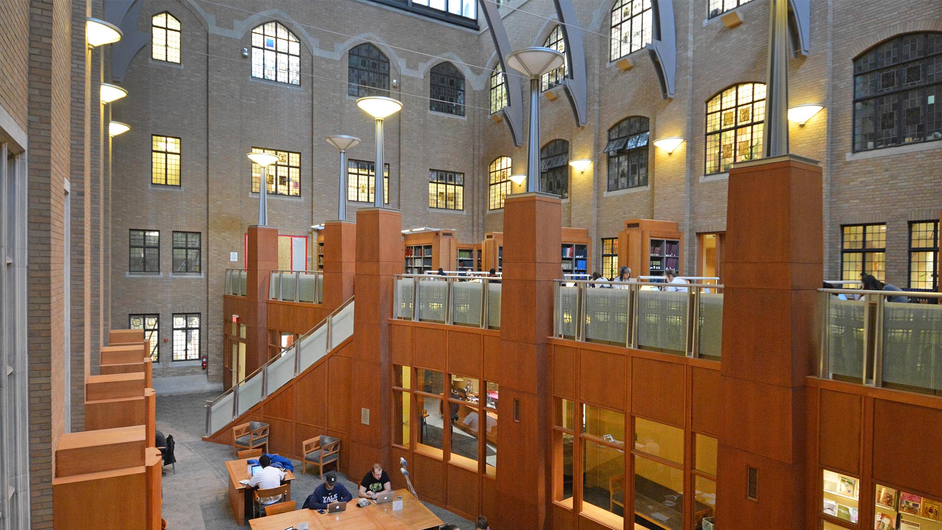 A photo of the first and second floors of the Gilmore Music Library.