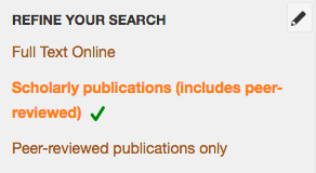 Screenshot of the filter options from Quicksearch Articles+.