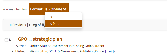 """Screenshot of the """"is not"""" filter option in Quicksearch Books+."""