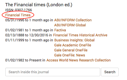 A screenshot showing availability of the Financial Times at Yale Library.