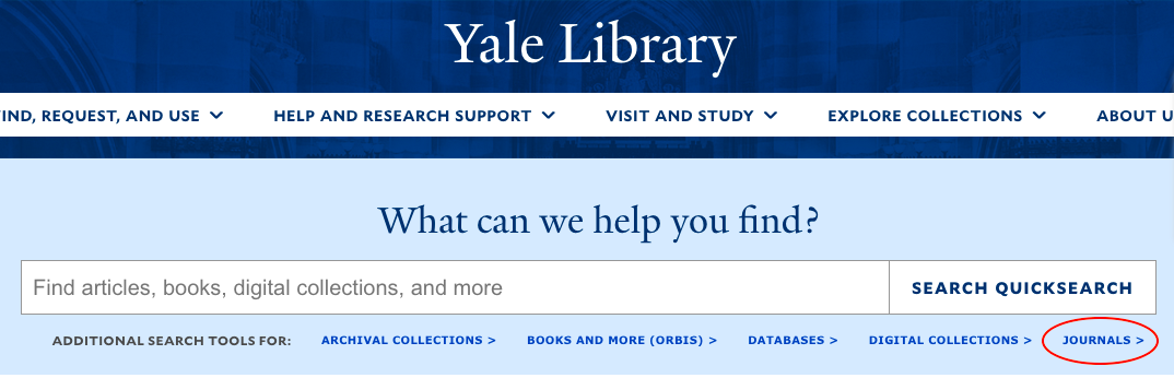 """A screenshot of the Yale Library website, with """"Journals"""" highlighted"""