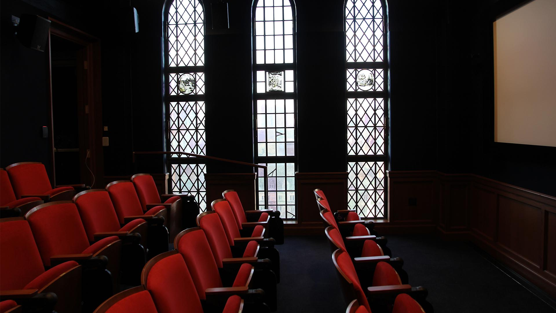 A photo of the theater at the Yale Film Archive.