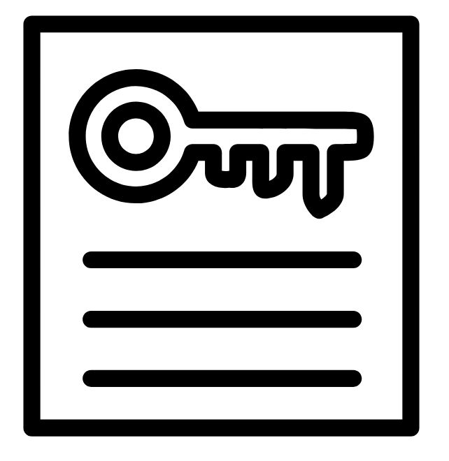 icon of a key on a document