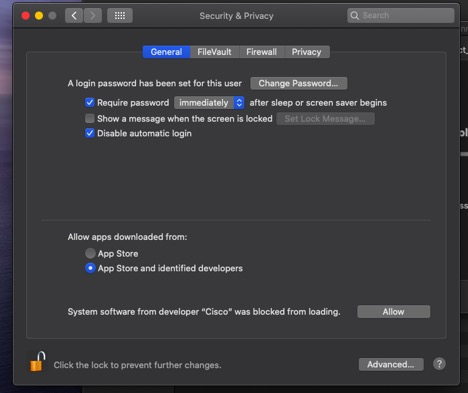Screenshot of the system settings to override on a Mac computer.