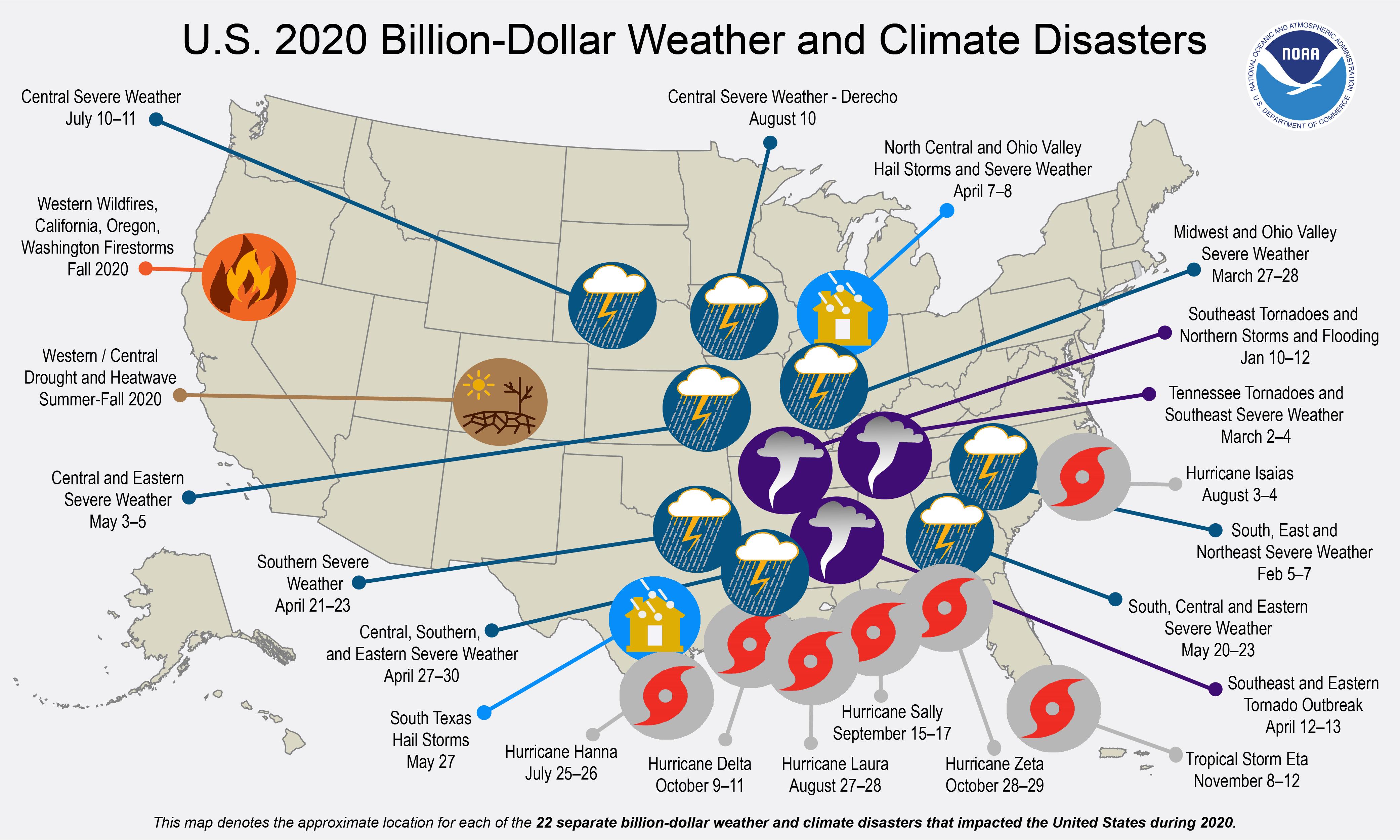 NOAA billion dollar climate disasters 2020