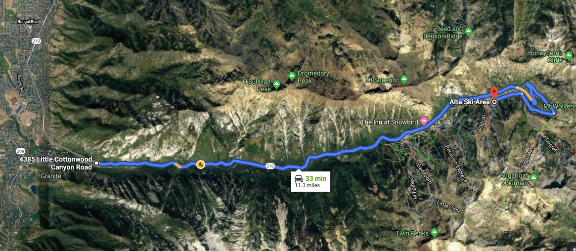 Google Maps, Little Cottonwood Canyon